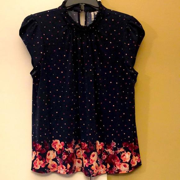 Elle polka dot and floral navy blue blouse